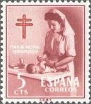 Sellos de Europa - España -  ESPAÑA 1953 1121 Sello Nuevo Pro Tuberculosos Cruz de Lorena Enfermera Puericultora