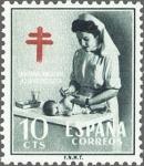 Stamps Spain -  ESPAÑA 1953 1122 Sello Nuevo Pro Tuberculosos Cruz de Lorena Enfermera Puericultora