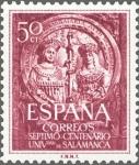Sellos de Europa - España -  ESPAÑA 1953 1126 Sello Nuevo VII Centenario Universidad de Salamanca Los Reyes Católicos Fachada 50c
