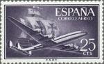 Sellos de Europa - España -  ESPAÑA 1955 1170 Sello Nuevo Super Constellation y Nao Santa Maria 25c