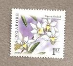 Stamps Asia - Singapore -  Orquidea Dendrobium crumenatum