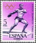 Sellos de Europa - España -  ESPAÑA 1964 1621 Sello Nuevo Juegos Olímpicos de Innsbruck y Tokio Lanzamiento de Disco