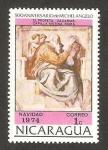 Sellos de America - Nicaragua -  navidad 1974, pintura de michelangelo