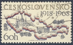 Stamps Europe - Czechoslovakia -  mapa pais 1918-1968