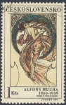 Sellos del Mundo : Europa : Checoslovaquia : Alfons Mucha 1860-1939