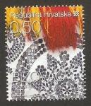 Stamps Croatia -  820 - motivo tradicional de Bizovac, flores