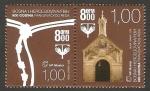Sellos del Mundo : Europa : Bosnia_Herzegovina : 800 anivº de la orden de los franciscanos, emblema y capilla