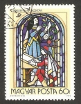 Stamps of the world : Hungary :  Pintura religiosa en vidriera, escritor