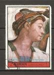 Stamps United Arab Emirates -  Pinturas de Miguel Angel.