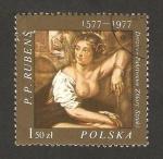Stamps : Europe : Poland :  pintura de bethsabee, de rubens