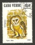 Sellos del Mundo : Africa : Cabo_Verde : ave, tyto alba, lechuza de los campanarios