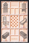 Stamps Spain -  Edifil  3127-32 Artesanía española.  Muebles   Bloque con los seis sellos