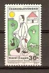 Sellos de Europa - Checoslovaquia -  CARICATURA  DE  CAREL  CAPEK