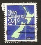 Stamps New Zealand -  Mapa de las islas