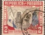 Stamps America - Panama -  BANDERAS  DE  PANAMÁ  Y  ESTADOS  UNIDOS,  ANTIGUA  CATEDRAL  Y  ESTATUA  DE  LA  LIBERTAD