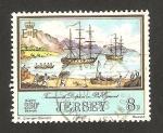 Sellos del Mundo : Europa : Isla_de_Jersey : 287 - Naves Tamar y Dolphin en puerto Egmont