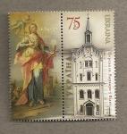 Sellos de Europa - Ucrania -  Iglesia con imagen