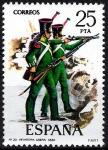 Stamps Spain -  2354 Uniformes. Infantería Ligera. 1830.