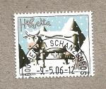 Sellos de Europa - Suiza -  Vaca en la nieve