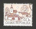 Stamps : Europe : Czech_Republic :  70 - Vista nocturna, una iglesia