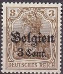 Stamps Belgium -  Belgica 1916 Scott N11 Sello ** Germania Basico con sobreimpresion Belgien 3 Cent. Alemania