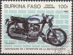 Stamps Burkina Faso -  Burkina Faso 1985 Scott 692 Centenario Invención de la Moto Ducati Matasello de favor Preobliterado