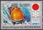 Stamps Burundi -  Burundi 1975 Scott 393 Sello Juegos Olimpicos Sapporo Japon Bobsleigh Matasello de favor Preoblitera
