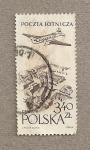 Stamps Poland -  Avión sobre el mercado antiguo de Cracovia