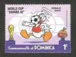 Sellos del Mundo : America : Dominica : Mundial de fútbol España 82, pato Donald