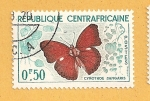 Stamps Africa - Central African Republic -  Mariposa, Cymothoe sangaris