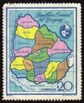 Stamps America - Uruguay -  MAPA DEL URUGUAY
