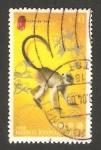 Sellos del Mundo : Asia : Hong_Kong : animal del zodiaco chino, un mono