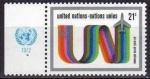 Sellos de America - ONU -  ONU NEW YORK 1972 C18 Sello Nuevo ** Correo Aereo Anagrama UN y Nubes 21c