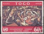 Sellos del Mundo : America : ONU : ONU TOGO 1967 C77 Sello Desarme Mural de Jos� Vela Zanetti en la Oficina de New York 60F