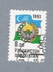 Stamps Asia - Uzbekistan -  Bandera y escudo