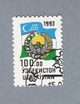 Stamps Uzbekistan -  Bandera y escudo