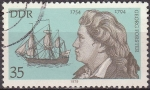 Sellos de Europa - Alemania -  Alemania DDR 1979 Scott 1998 Sello Personajes George Foster (1754-94) y Barco del Capitan Cook