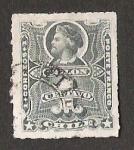 Stamps America - Chile -  BUSTO COLON CENTAVOS SOBRE LA CIFRA DEL VALOR.
