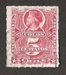 Stamps America - Chile -  BUSTO COLON CENTAVOS SOBRE LA CIFRA DEL VALOR