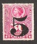Stamps Chile -  BUSTO COLON SOBRECARGA 5 GRANDE