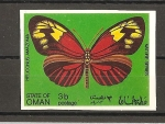 Sellos de Asia - Omán -  Mariposas.
