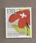 Stamps Switzerland -  Flor con bandera suiza