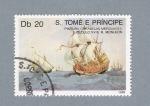Sellos del Mundo : Africa : Santo_Tomé_y_Principe : Pinturas Caravelas Mercante siglo XVIII R.Monleón