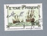 Sellos del Mundo : Africa : Santo_Tomé_y_Principe : Pinturas Barcos de Guerra Século XIII