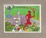 Sellos de Asia - Corea del norte -  Corredor con la antorcha olímpica