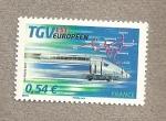 Stamps France -  Tren alta velocidad europeo