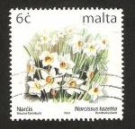Sellos de Europa - Malta -  flores, narcissus tazetta