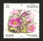 Sellos de Europa - Malta -  flores, cistus creticus