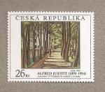 Sellos de Europa - República Checa -  Cuadro por Alfred Justitz