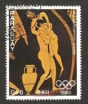 sellos de America - Paraguay -  olimpiadas de moscu, atletas olímpicos griegos, luchadores